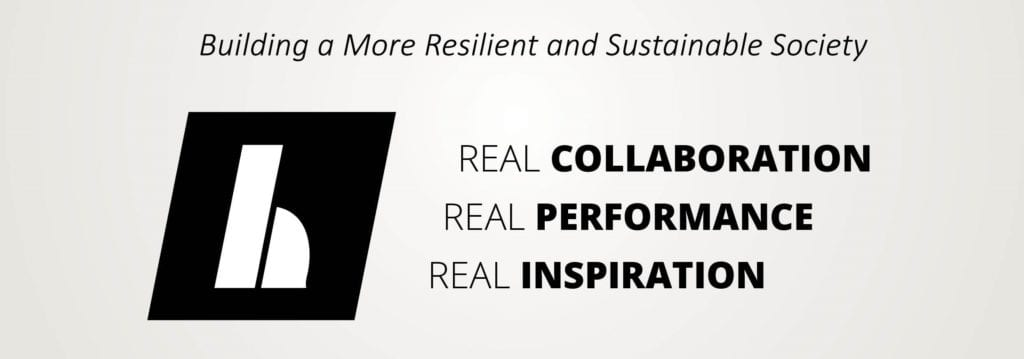HEAPY logo with vision to build a more resilient and sustainable society and core mission